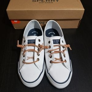 Sperry White Top Sider Memory Foam Canvas Shoes